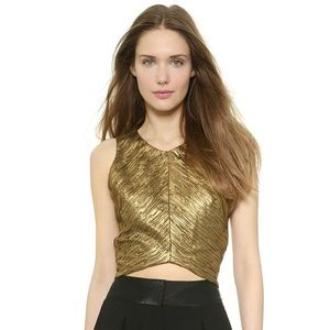 Torn by Ronny Kobo Anina gold crop top